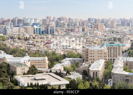 medieval walled Old City Icheri Sheher ,Baku Azerbaijan UNESCO from Martry's Alley - Stock Photo