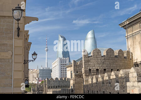 Flame Towers & TV Towers from Old City Baku Azerbaijan - Stock Photo