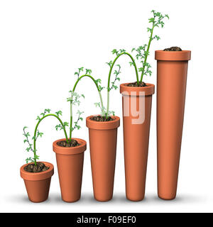Growth success business concept as a growing plant rising in increments on gradualy higher flower pots as a fnancial - Stock Photo