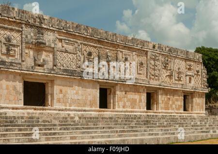 Nunnery Quadrangle Wall, Uxmal, Mexico - Stock Photo