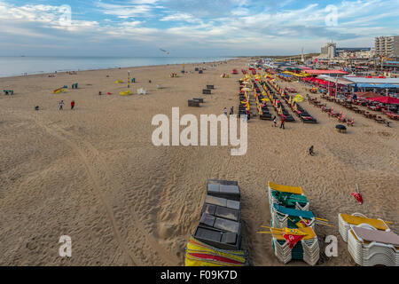 Panoramic view from Scheveningen Pier on the beach, The Hague, South Holland, Netherlands. - Stock Photo