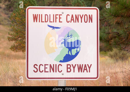 Byway sign, Wildlife Canyon Scenic Byway, Boise National Forest, Idaho - Stock Photo