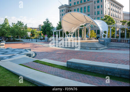 Asheville, North Carolina's downtown Pack Square Park in the first light of sunrise. USA. - Stock Photo