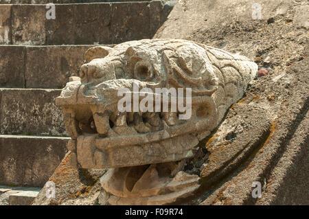 Serpent at Templo de Quetzalcoatl, Teotihuacan, Mexico - Stock Photo