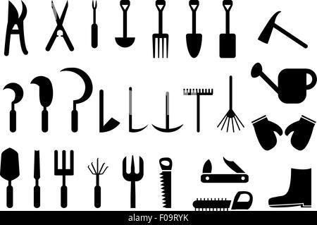 Set of Garden hand tools icons - Stock Photo