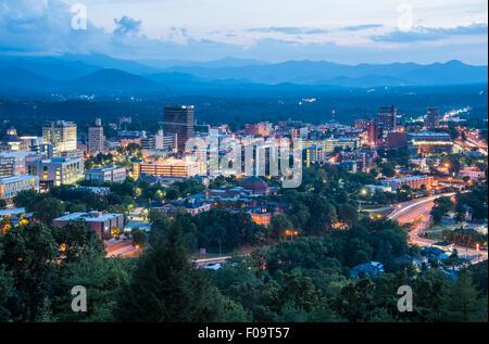 Asheville, North Carolina city skyline at dusk. - Stock Photo