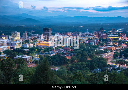 Asheville, North Carolina city skyline at dusk. USA. - Stock Photo