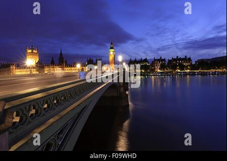 View of Westminster Bridge with River Thames and Big Ben in Westminster, London - Stock Photo