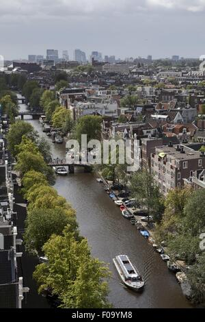 Aerial view of Old Town and Prinsengracht canal in Amsterdam, Netherlands - Stock Photo