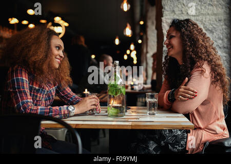 Image of female friends meeting in a cafe. Two young women in a restaurant talking and smiling. - Stock Photo