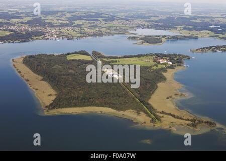 Aerial view of Herrenchiemsee, Chiemgau, Bavaria, Germany - Stock Photo