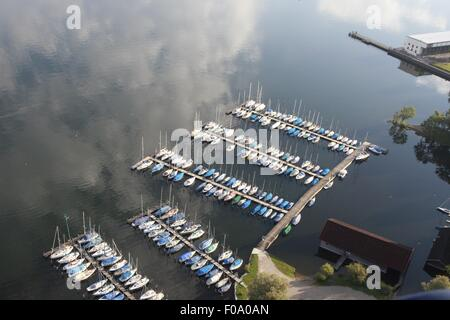Aerial view of boats parked in port at Prienavera, Prien am Chiemsee, Bavaria, Germany - Stock Photo