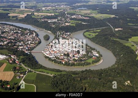 View of cityscape with Wasserburg am Inn in Rosenheim, Bavaria, Germany, Aerial view - Stock Photo