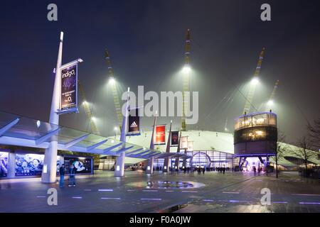 View of O2 Arena and Millennium Dome at night, London, UK - Stock Photo