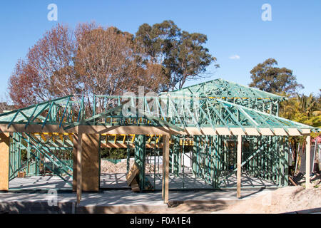 house of timber frame under construction in Sydney,new south wales,australia - Stock Photo