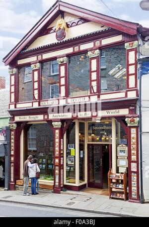 Facade of Richard Booth's Bookshop in Hay-on-Wye, Hereford, Wales, UK - Stock Photo