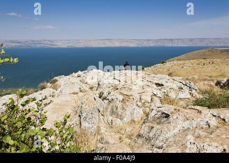 People at Jesus Trail hiking and pilgrimage route in Galilee region of Israel - Stock Photo