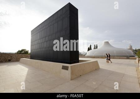View of people at Shrine of the Book in Israel Museum, Jerusalem, Israel - Stock Photo