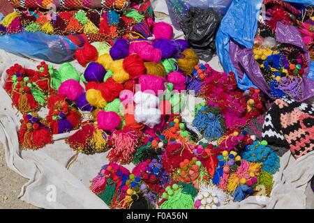 Wool tassels in Bedouin market, Beersheba, Negev, Israel - Stock Photo