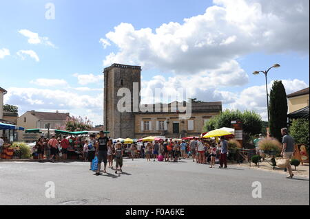 Market day at Puy-l'Eveque which is a small town in France situated in the Lot department, within the Midi-Pyrenees - Stock Photo