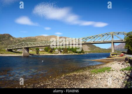 The road to Fort William. A steel girder bridge crosses the entrance to Loch Leven at North Ballachulish in West - Stock Photo