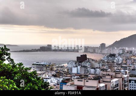 Elevated view of Copacabana and Leme from Morro da Babilonia, Rio de Janeiro, Brazil - Stock Photo