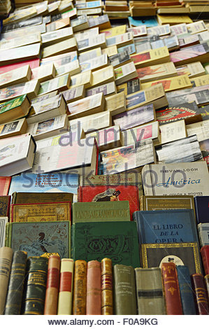 Used secondhand books displayed at flea market in Barcelona Catalonia Spain Europe. - Stock Photo