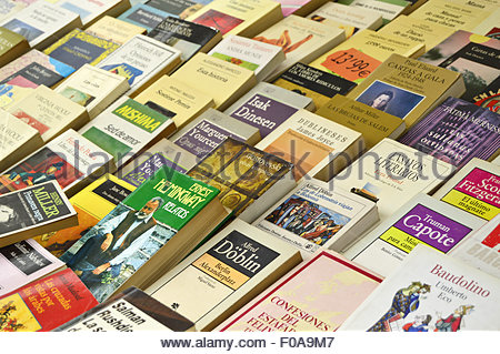 Used secondhand books displayed at flea market in Barcelona Spain Europe. - Stock Photo