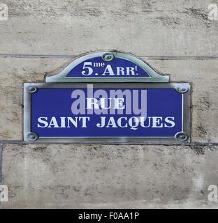 Street sign Rue saint Jacques in Paris France - Stock Photo