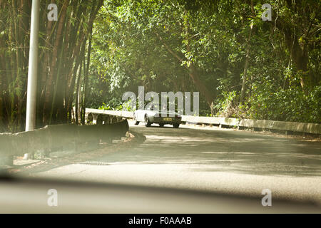 Two men in convertible car on road, rear view - Stock Photo