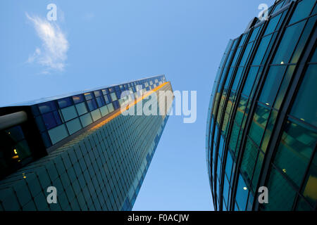 Modern office buildings, low angle view, Liverpool, UK - Stock Photo
