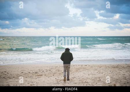 Rear view of man on windy beach, Sorso, Sassari, Sardinia, Italy - Stock Photo