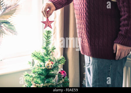 Person putting star on christmas tree