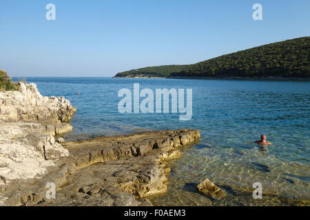 Istria, Croatia. Krnica Porat, a small quiet harbour on the east coast of the Istrian peninsula, about 20km from - Stock Photo