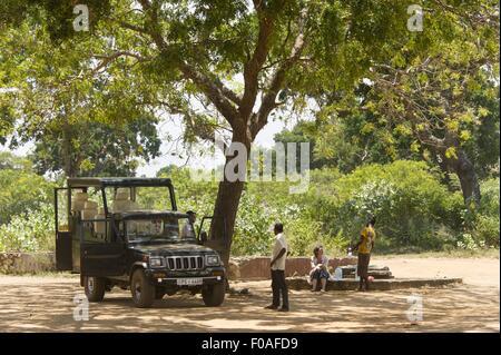 People in jeep safari at Yala National Park, Colombo, Southern Province, Sri Lanka - Stock Photo