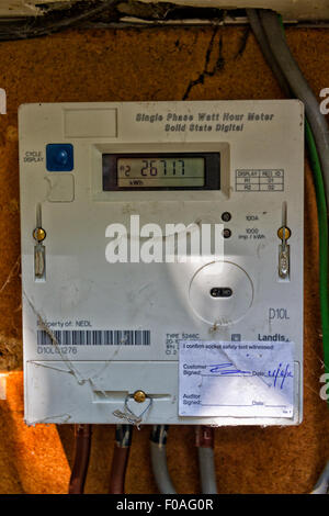 Domestic electricity meter cupboard, UK - Stock Photo