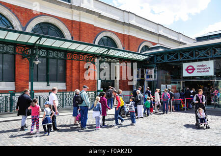 Queue at entrance to London Transport Museum, Covent Garden, City of Westminster, London, England, United Kingdom - Stock Photo