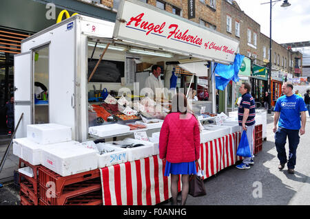 Angel Fisheries seafood stall, Chapel Market, Islington, London Borough of Islington, London, England, United Kingdom - Stock Photo