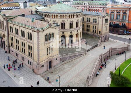 View of Storting Building in Oslo, Norway - Stock Photo