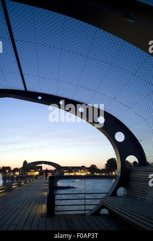 View of pier at evening in Kellenhusen, Schleswig Holstein, Germany - Stock Photo