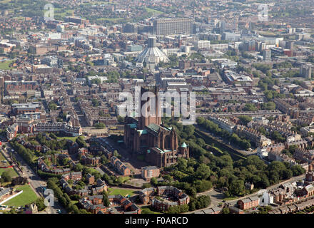 aerial view of Liverpool Cathedrals: Anglican and Catholic Metropolitan Cathedral of Christ the King, UK - Stock Photo
