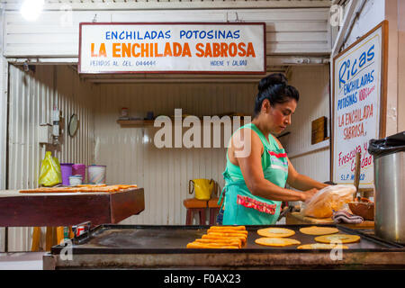 Reseller of enchilada potosina. San Luis Potosi, SLP. Mexico - Stock Photo