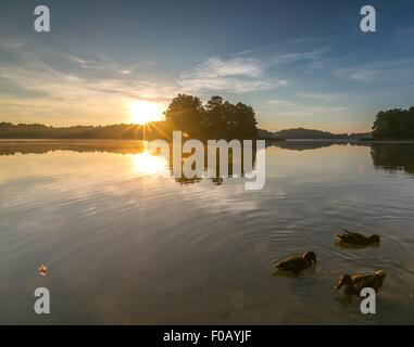 Beautiful sunrise over mysty lake. Lake in Warmia and Mazury lake district in Poland. Summer calm weather - Stock Photo