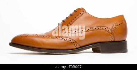 English Full Brogue Brown Shoe Profile - Stock Photo