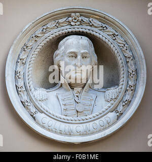 A bust of former Royal Navy Admiral Cuthbert Collingwood in Greenwich, London. - Stock Photo