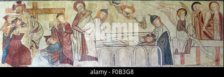 The Christian story of the Crucifixion as depicted in a medieval wall painting, Easby Church, Richmond, North Yorkshire, - Stock Photo