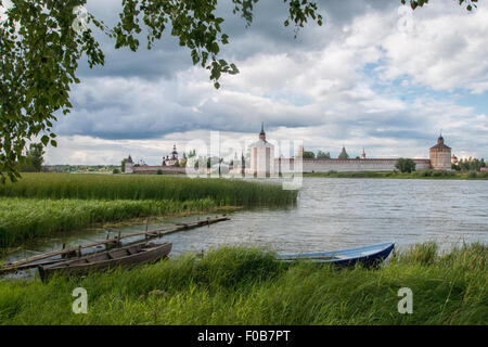 View Cyril Belozersky Monastery sunny summer day - Stock Photo