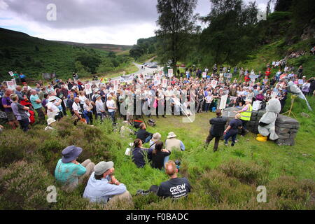Protesters gather to campaign against the illegal persecution of hen harriers at Hen Harrier Day,Peak District Derbyshire - Stock Photo