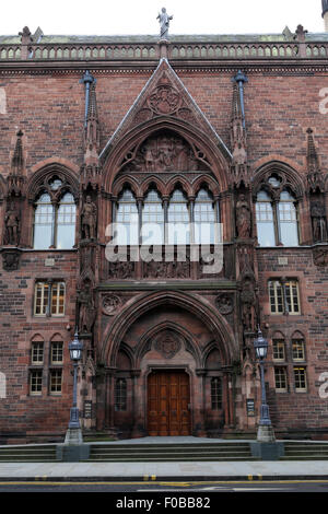 Entrance to the Scottish National Portrait Gallery in Edinburgh, Scotland. The Gothic Revivalist style building - Stock Photo
