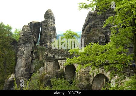 Basteibruecke, Elbsandsteingebirge, Landschaft - Stock Photo